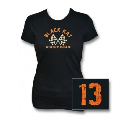 black-kat-kustoms - Distressed 13 | Girl Fitted T-Shirt