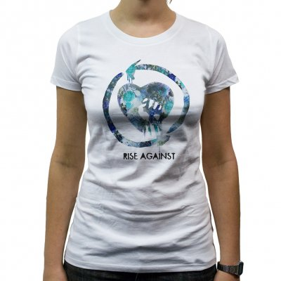 rise-against - Floral Fist Blue | Fitted Girl T-Shirt