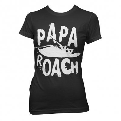papa-roach - Classic Logo Black |  Fitted Girl T-Shirt