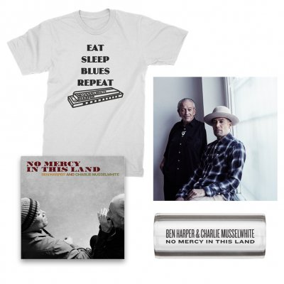 ben-harper-and-charlie-musselwhite - No Mercy In This Land | CD + T-Shirt + Guitar Slide + Signed Lithograph