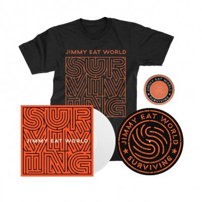 Jimmy Eat World - Surviving | White Vinyl + Pin + Slipmat + T-Shirt Bundle