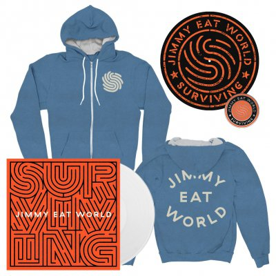 Jimmy Eat World - Surviving | White Vinyl + Pin + Slipmat + Zip-Hood Bundle