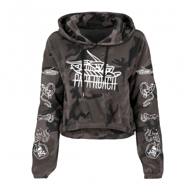 papa-roach - Icon Dark Camo | Girl Crop Hoodie