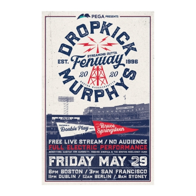 Dropkick Murphys - Streaming Outta Fenway White | Poster