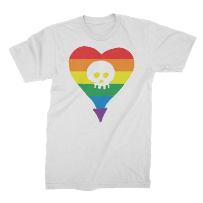 Alkaline Trio - Rainbow Heartskull White | T-Shirt