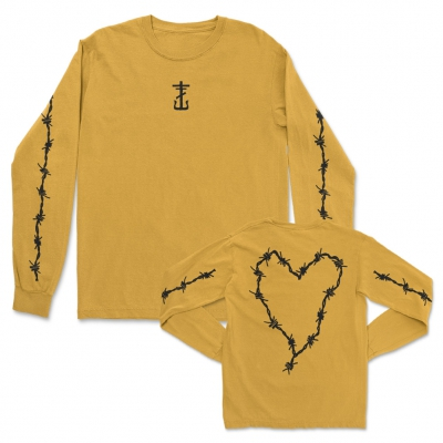 Barbed Wire Heart Gold | Longsleeve