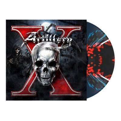 X | Teal Blue/Red/White Melt Splatter Vinyl