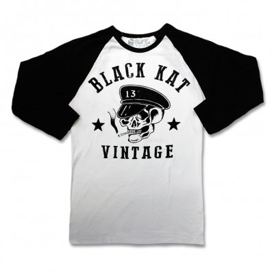 black-kat-kustoms - Moto Skull Raglan Tee