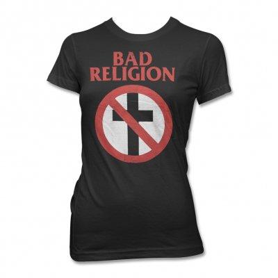 Bad Religion - Women's Distressed Cross Buster Tee (Black)