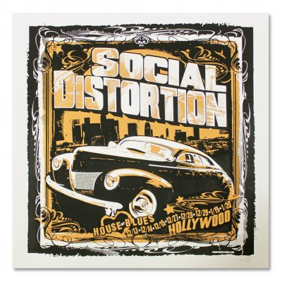 Social Distortion - House Of Blues Hollywood Screen Printed Poster