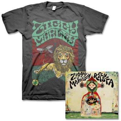 Ziggy Marley - Fly Rasta - CD & Fly Rasta Lion Tee (Charcoal)