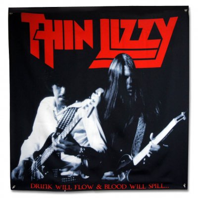 "Thin Lizzy - Drink Will Flow & Blood Will Spill Flag (48"" x 48"""
