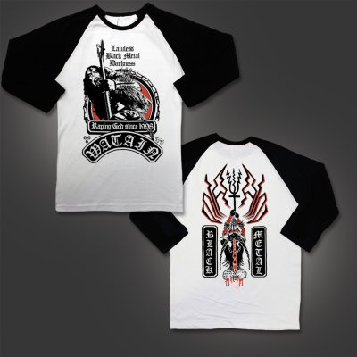 Watain - Raping God Raglan (Black/White)