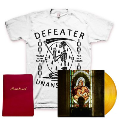 defeater - Abandoned LP (Coke/Transparent Orange Vinyl) + Unanswered Skeleton T-Shirt + Deluxe Lyric Book