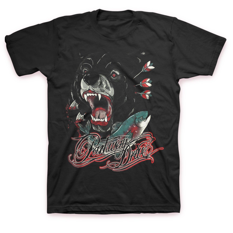 IMAGE | Bear And Salmon T-Shirt (Black)