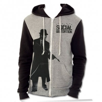 social-distortion - Machine Gun Two-Tone Zip Up Hoodie (Black/Heather