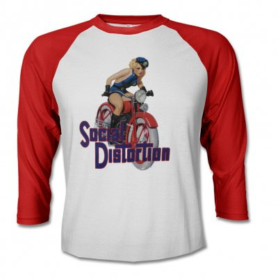social-distortion - Motorcycle Girl Raglan - Women's (Red/White)