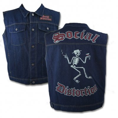 social-distortion - Social Distortion Skelly Denim Vest (Blue)