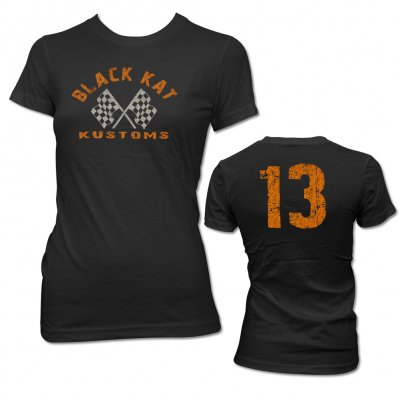 black-kat-kustoms - Womens Distressed 13 Tee