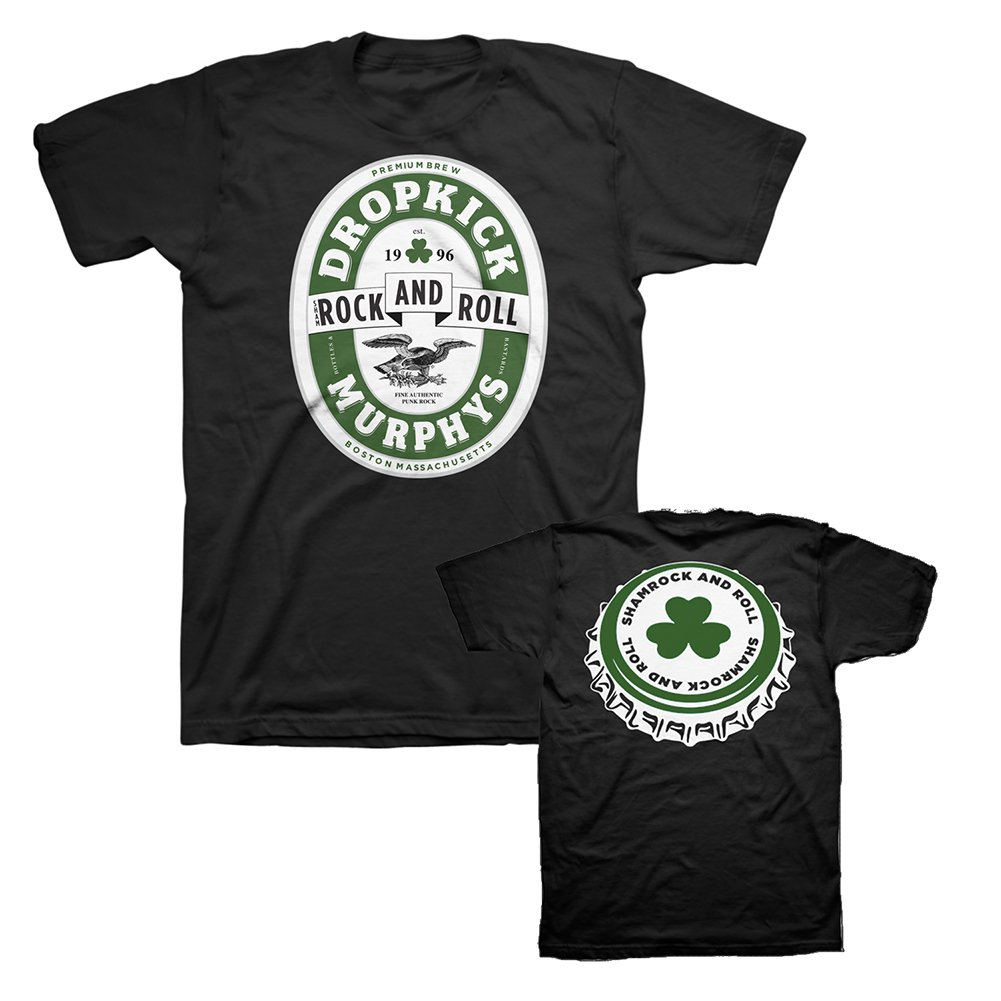 IMAGE   Shamrock and Roll Caps Tee (Black)