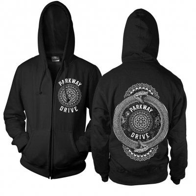 parkway-drive - Mandala Snake Zip Up Sweatshirt (Black)