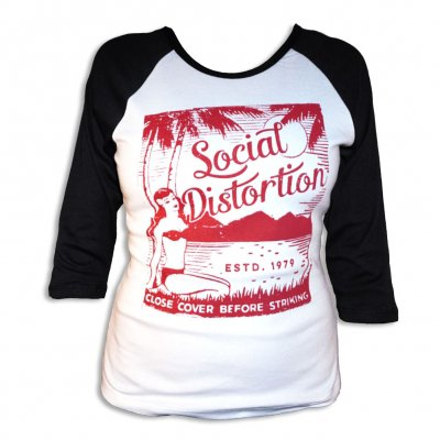 social-distortion - Island Girl Raglan - Women's (Black/White)