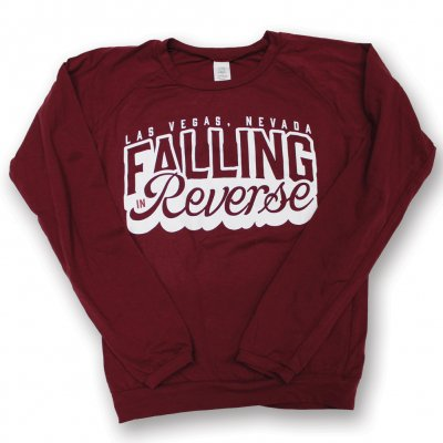 falling-in-reverse - Ladies Cursive Long Sleeve Tee (Burgundy)