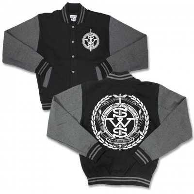 sleeping-with-sirens - SWS Crest Logo Varsity Jacket (Grey/Black)