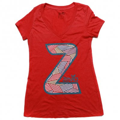 zevia - Striped Z V-Neck Tee - Women's