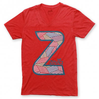 zevia - Striped Z V-Neck Tee - Men's