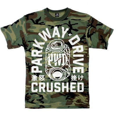 parkway-drive - Crushed Can T-Shirt (Woodland Camo)