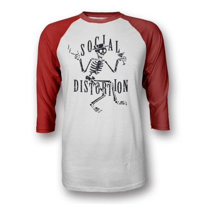 social-distortion - Skelly Raglan (Red/White)