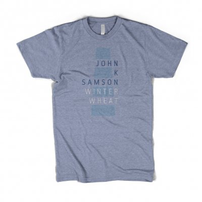 John K Samson - Winter Wheat Text T-Shirt (Heather Blue)