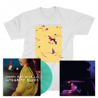 Jimmy Eat World - Integrity Blues LP (Turquoise) + Signed Litho + Pattern T-Shirt (White)