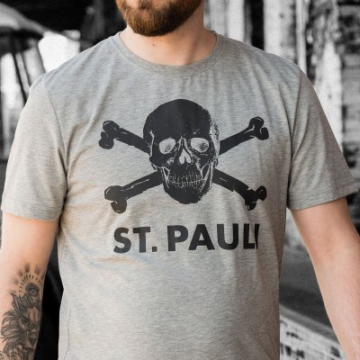 fc-st-pauli - St. Pauli Skull Tee (Heather Gray)