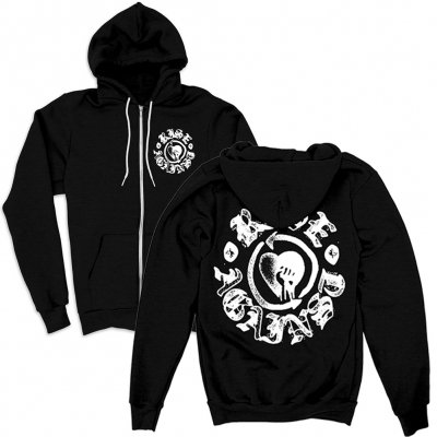 rise-against - HeartFist Stamp Contrast Zip Hoodie (BLACK)