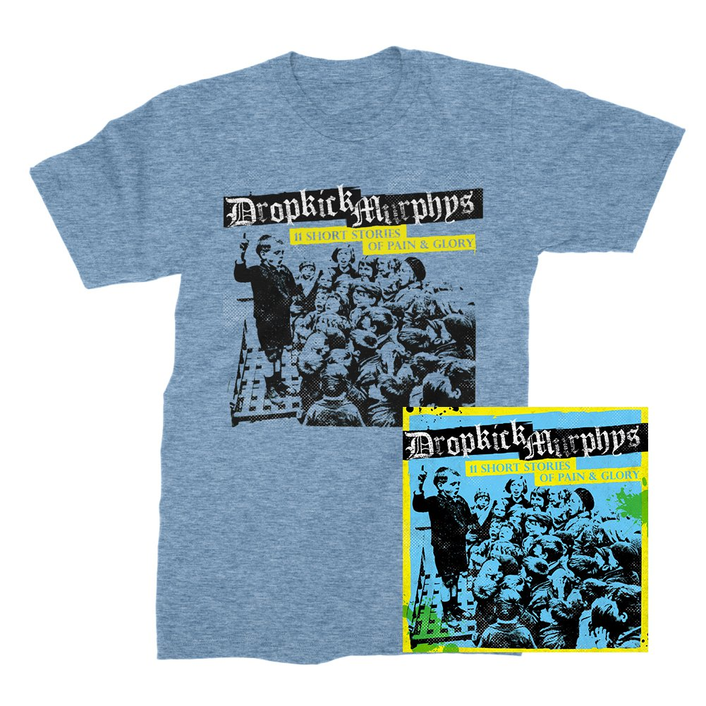 IMAGE | 11 Short Stories Of Pain And Glory CD & Album T-Shirt (Blue) Bundle