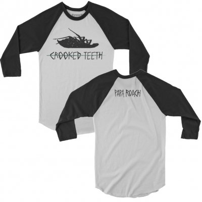 papa-roach - Crooked Teeth Raglan (White/Black)