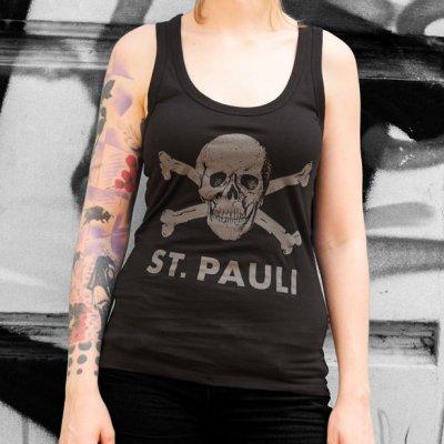 FC St Pauli - Womens Racerback Skull Tank (Black)