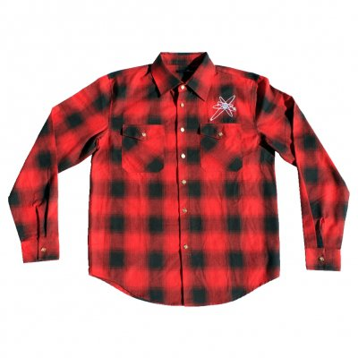 strung-out - Embroidered Astrolux Flannel (Red/Black)