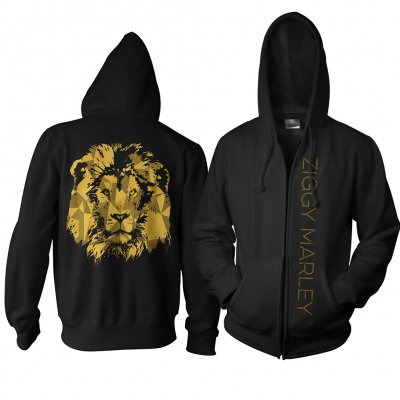 Ziggy Marley - Gold Lion Zip Up Sweatshirt (Black)