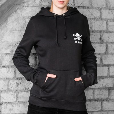 St. Pauli Skull Front & Back Pullover Womens Hoodie (Black)