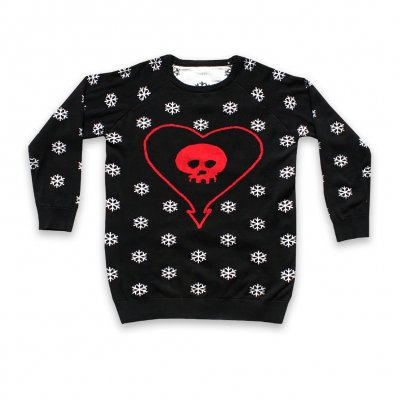 alkaline-trio - Heartskull and Snowflakes Sweater