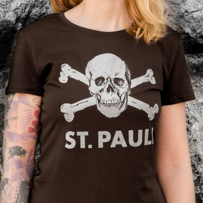FC St Pauli - St. Pauli Skull Womens Tee (Brown)