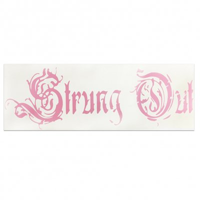 "strung-out - Coffin Logo Sticker (Pink, 3.5"" x 12"")"