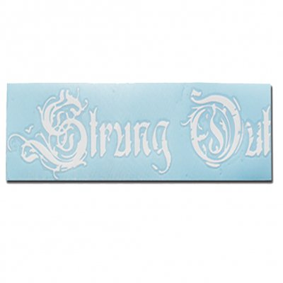 "strung-out - Regular Coffin Logo Sticker (White 3.5""x12"")"