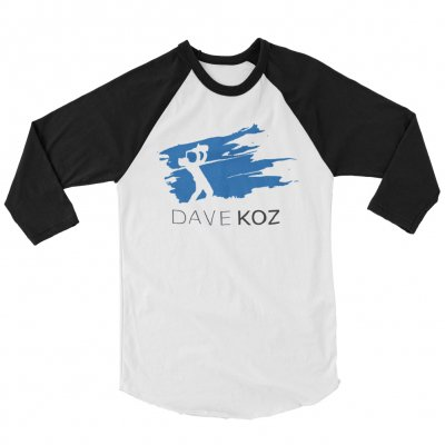 dave-koz - Blue Stroke Baseball Tee (White/Black)