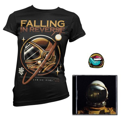 falling-in-reverse - Coming Home CD (Autographed)/Gold Astro Womens Tee (Black)/Pin Bundle