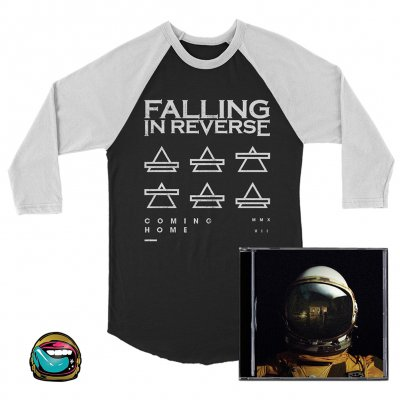falling-in-reverse - Coming Home CD (Autographed)/Triangle Baseball Tee (Blk/Wht)/Pin Bundle