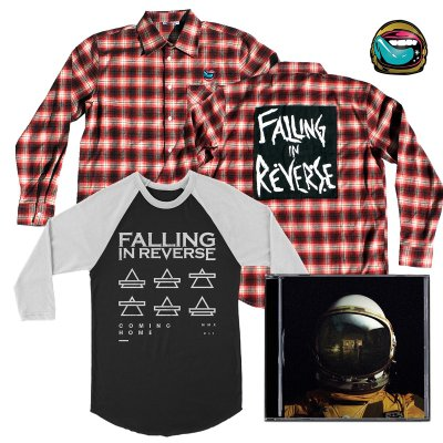 Falling In Reverse - Coming Home CD (Autographed)/Triangles Baseball Tee (Blk/Wht)/Flannel/Pin Bundle
